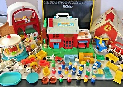 Vintage Fisher Price Little People Lot Neighborhood Accessories Figures Vehicles
