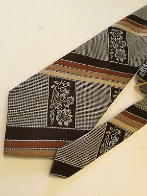 "Vintage 70's Classic Kipper Tie Retro Browns Kitsch 4"" Wide Leo Mancini"