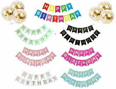 Happy Birthday Bunting Banner Pastel Hanging Letters Party Decoration Garland...