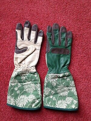 Ladies Laura Ashley Leather Gardening Gloves New Green And Cream