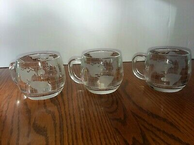 Nestle Nescafe Vintage Clear World Map Globe Etched Glass Coffee Cup Mug Lot 3