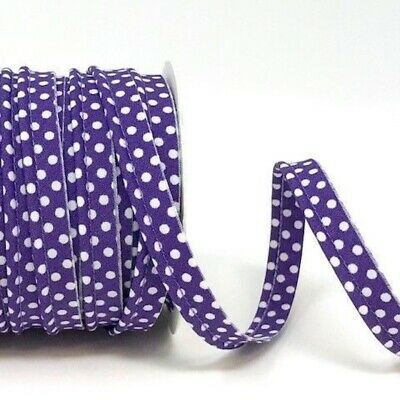 Polycotton Spotty Piping Bias Binding - 10mm Wide - Purple With White Dots - ...