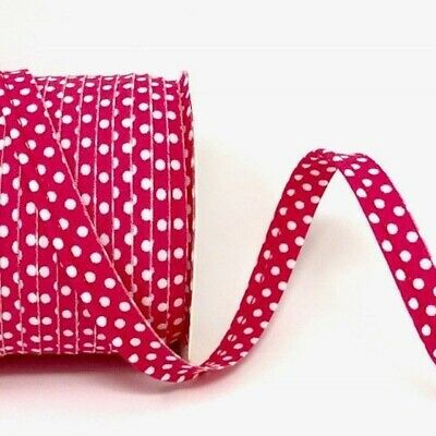 Polycotton Spotty Piping Bias Binding - 10mm Wide - Fuchsia With White Dots -...