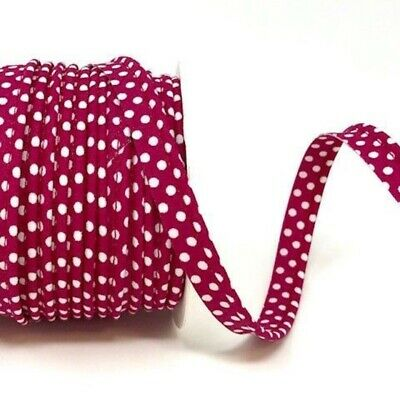 Polycotton Spotty Piping Bias Binding - 10mm Wide - Cranberry With White Dots...