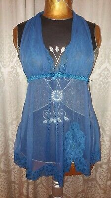Fredricks of Hollywood blue sheer babydoll chemise lingerie dress small NWT