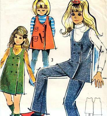 Vintage 70s GIRLS PINAFORE DRESS Tunic TROUSERS Sewing Pattern 5 & 6 Years RETRO