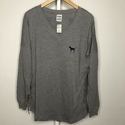 Victoria's Victorias Secret PINK Gray Lace Up V-Neck Campus Tee XS NWT