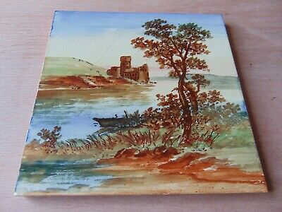 19th century ARCHITECTURAL ANTIQUE MAW TILE 6 INCH HAND PAINTED CASTLE SCENE