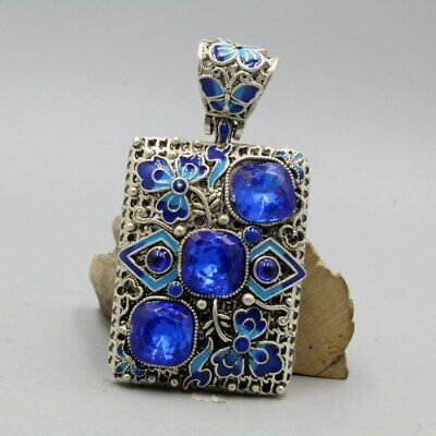 Collectable Handwork Miao Silver Carving Blue Crystal Flowers Beautiful Pendant