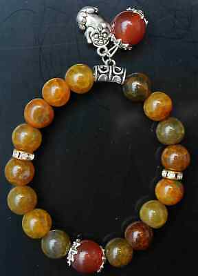 Collection China Agate Handwork Carving Mythical Wild Animal Noble Hand Catenary