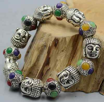 Collectable China Handwork Old Miao Silver Buddha Head Agate Girl Hand Catenary