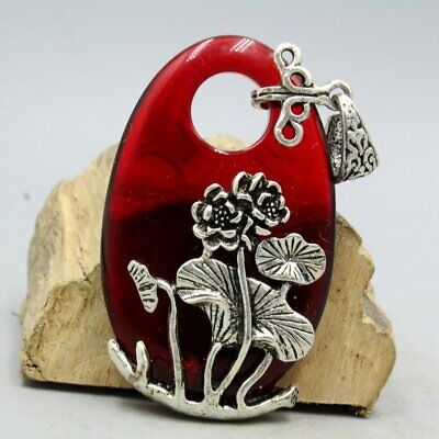 Collectable China Old Miao Silver Resin Handwork Carving Lotus Beautiful Pendant