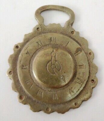 Vintage Horse Bridle Harness Brass Medallion 5 O'Clock Watch Time Old