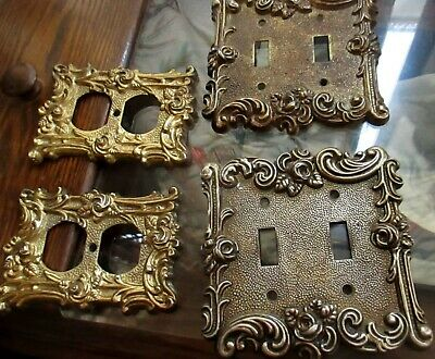 Lot 4 1967 American Tack Hardware Rose Scroll Brass Switch Plates Outlet 60T 60D