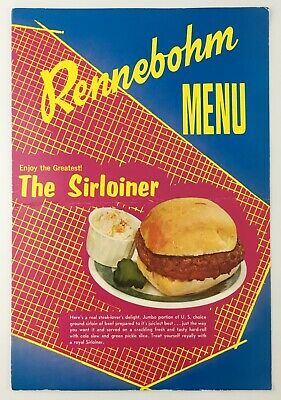 c1960s Rennebohm Restaurant Menu Madison WI Rennies Drugstore Big Bucky Combo