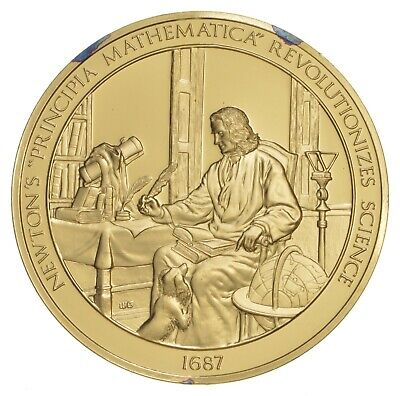 24K Gold Gild Isaac Newton .925 Sterling Silver 62.8 Grams Round *225