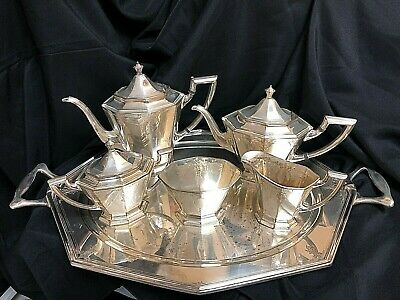 Art Deco Modernist Silver Plate Simpson Hall Miller & Co C804 Coffee Tea Set wit
