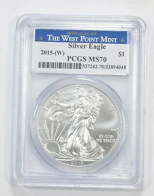 WEST POINT -PERFECT 2015-(W) American Silver Eagle $1 MS-70 PCGS *038