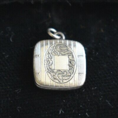 Antique Art Deco Small Monogram Fob Charm Or Pendant Silver Plated