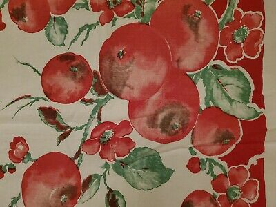 MINT Vintage 1950s Square Linen Tablecloth red fruit & flowers, nice w/ holidays
