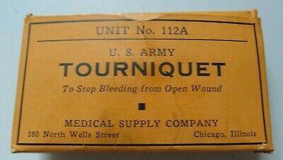 Vintage Wwii Us Army Tourniquet Unit No 112A Military First Aid Kit Medic Bandag
