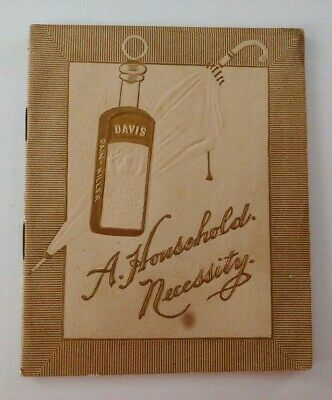 1890s Perry Davis Pain Killer Quack Booklet Gold Embossed 20 Pgs Household Rare
