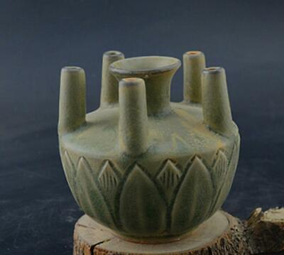 chinese old handmade Green glaze porcelain Five pipe bottle 08731