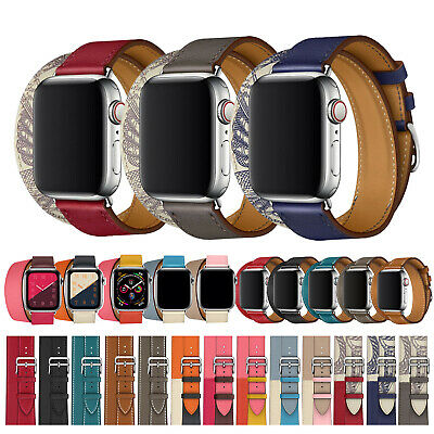 Genuine Leather Single Tour/Double Tour Strap Band For Apple Watch Series 5/4/3
