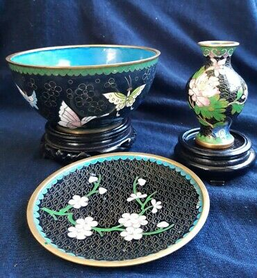 Cloisonne Bowl, Plate And Miniature Vase