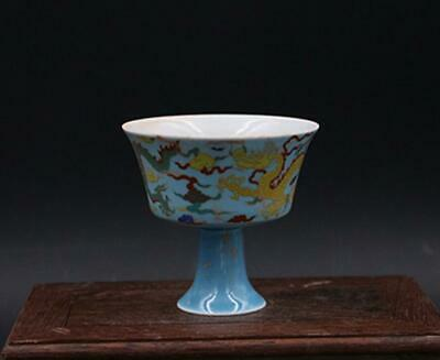 chinese old porcelain hand-painted pastel dragon pattern high foot cup 08564