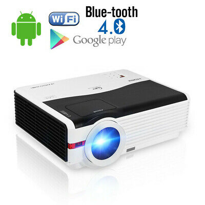 Smart Android 6.0 WiFi Bluetooth Home Cinema Video Projector HD 1080p Movie HDMI