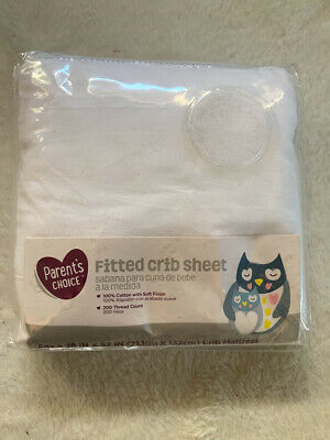 Parents Choice Fitted Crib Sheet White 100% Cotton 200 Thread Count 28X52 inches