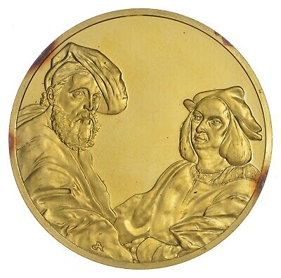 24K Gold Gild The Art Of Raphael .925 Sterling Silver 31.3 Grams Round *670