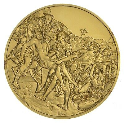 24K Gold Gild The Art Of Raphael .925 Sterling Silver 31.4 Grams Round *580