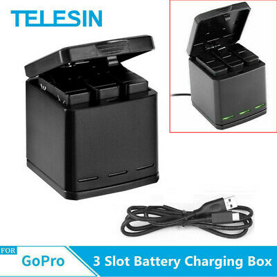 TELESIN For GoPro hero 5 6 7 Battery Charger 3 Solts Charging Storage Box US