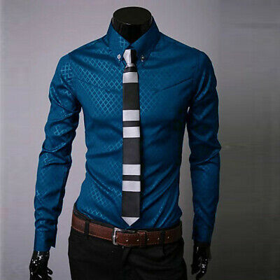 Mens Casual Slim Fit Plaid Long Sleeve Formal Shirt Business Wedding Dress Tops