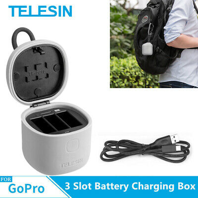 TELESIN For Gopro Hero 7 6 5  3 Slot Battery Charger SD Card reader Storage box