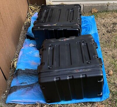 "2x SKB 6U 18"" Deep Roto 6 Space Rack Case ATA Flight Road Case"
