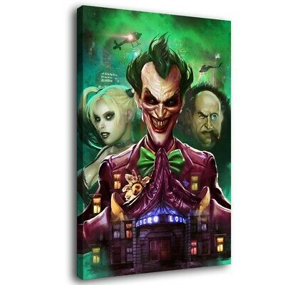 "16""x24""Batman: Arkham Asylum Joker Paintings HD Print on Canvas Home Decor Wall"