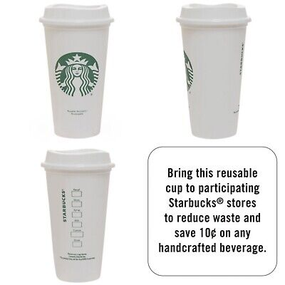 New Starbucks Reusable Siren Cup w/Lid Plastic Travel Coffee Grande Size 16 Oz