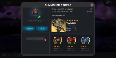 MCOC Account 5* WARLOCK Level 1 Starter Account Marvel Contest of Champions