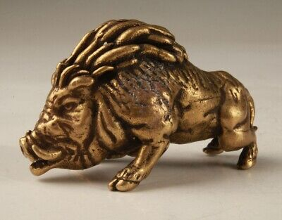 Rare China Bronze Hand-Carved Boar Statue Figurine Old Gift Collec