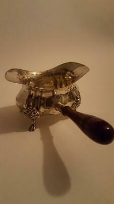- Poole  Footed Sterling Silver Double Spouted Sauce Boat Wooden Handle No Mono