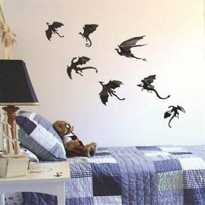 7pcs/set Halloween Decor Dinosaurs Game of Thrones 3D Dragons Wall Stickers Fad