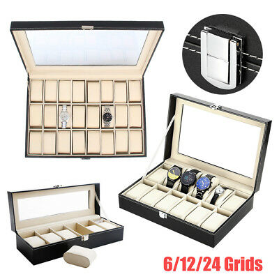 10/12/24 Grids Slot Watch Display Storage Box Jewelry Collection Case Organiser
