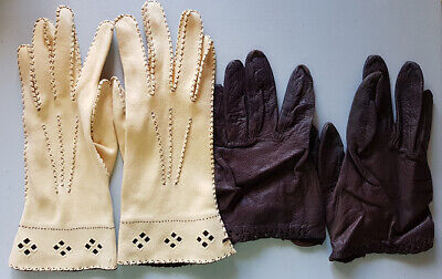 Gloves (2 pairs), vintage 1950s or 60s, for small hands