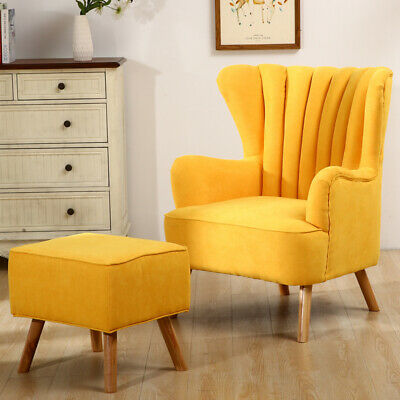 Wing Back Scalloped Velvet Armchair Chair with Footstool Ottoman Stool Fireside