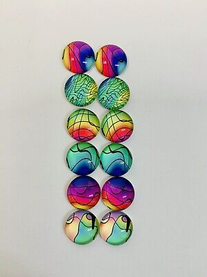 6 Pairs Of 12mm Glass Cabochons #1046