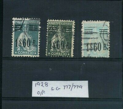 Portugal 1928 O/prints the 1$60 all 3 listed values Good/Fine Used