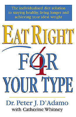 """""""AS NEW"""" D'Adamo, Dr Peter, Whitney, Catherine, Eat Right 4 Your Type, Book"""